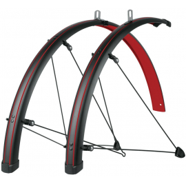 BLUEMELS STINGRAY 28 MUDGUARD SET: MATT BLACK/BLAZING RED 45MM